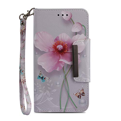 JanCalm Galaxy S7 Edge Wallet Case, [Folio Cover][Stand Feature] Premium [Flower] Pattern Samsung Galaxy S7 Edge Credit Card Flip Case Protective PU Leather with Card Slot + Wrist Strap + Crystal Pen