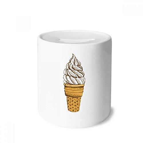 DIYthinker Sahne, Schokolade, Ei-Kegel-Eiscreme-Spardose Sparkassen Keramik Münzfach 3.5 Zoll in Height, 3.1 Zoll in Duruchmesser Mehrfarbig