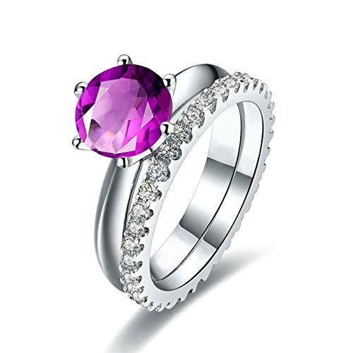 Bishilin 925 Sterling Silver Ring Women Ring Classic Modern Ring Set Purple Round Brilliant Cristal February Birthstone Engagement Ring Bands Hypoallergenic Jewelry 1.5Ct Size: R 1/2
