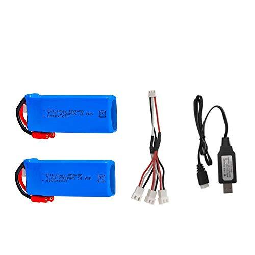 PRsellings Batería Lipo RC 2s 7.4v 2700mAh 25c y Cargador USB para Syma X8C X8W X8G X8 X8HC X8HG X8HW HQ899 T70CW RC Quadcopter Repuestos Black