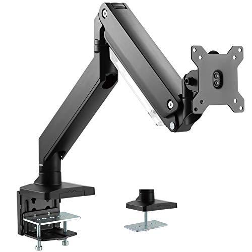 PUTORSEN® Monitor Tischhalterung - Schwere Ausführung Premium Aluminium Schwenkbare Neigbare Höhenverstellbar Einarm Monitorhalterung für 17
