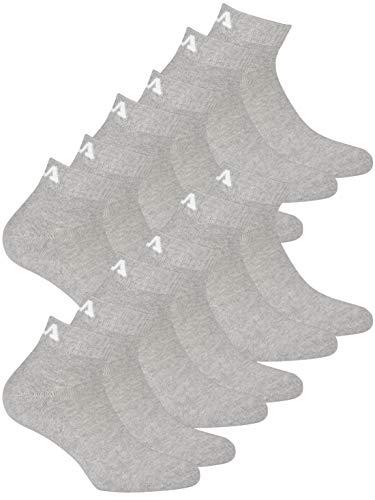 Fila Unisex Quarter Socken für Damen und Herren I 6 Paar Socken I grau 39-42