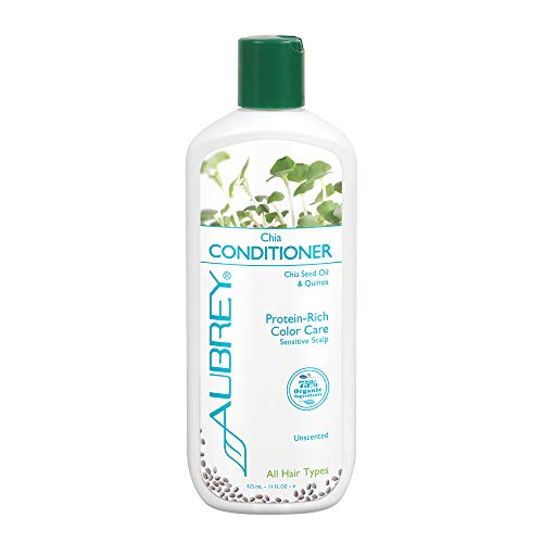 Aubrey Chia Conditioner | Protein Rich Color Care | Chia Seed Oil & Quinoa | 75% Organic Ingrds. | All Hair Types | Unscented, Sensitive Scalp | 11oz