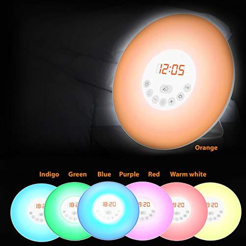 Radio-Réveil LED, réveil lumineux 7 couleurs, simulation lever/coucher du soleil, 5 sonneries sons nature, radio FM digital, lampe de chevet, veilleuse, fonction tactile, 230V