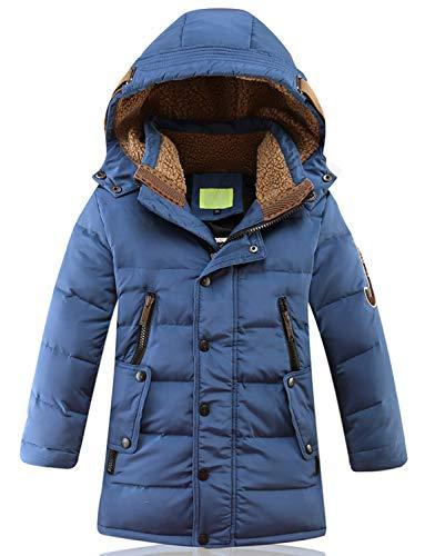 SEEU Daunenjacke Für Jungen Kälteschutz Jacke Mit Abnehmbar Kapuze Blau 134/140