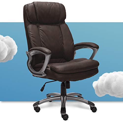 Serta Big & Tall Executive Office Chair High Back All Day Comfort Ergonomic Lumbar Support, Bonded Leather, Brown