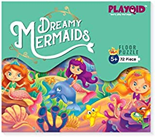 PLAYQID Dreamy Mermaids Jigsaw Floor Puzzle 72 Piece Puzzle for kids age 5 and above Size 35 x 48 - cm
