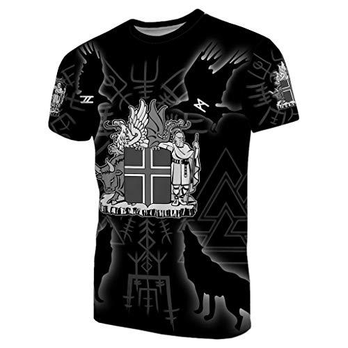 Camiseta Top de Manga Corta, T-Shirt con Estampado 3D de la Mitología Nórdica Odin, Camiseta Deportiva Viking Valknut Rune Tattoo, Cuervo Hugin Munin Y Lobo Geri Freki,L
