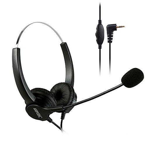 AGPtek HA0094 Telefon Headset mit 2.5mm Klinke 6FT Freisprech mit Lautstärkeregelung und Geräuschunterdrückung Mikrofon für Panasonic Tischtelefone