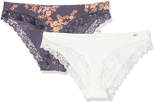 Skiny Damen Sweet Cotton Mix Rio Slip 2er Pack Taillenslip, Mehrfarbig (Purple Flower Selection 2202), (Herstellergröße: 40)