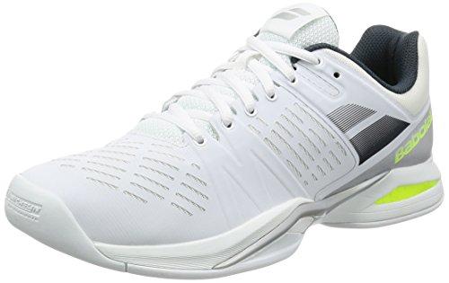 Babolat Herren Propulse Team Indoor Tennisschuhe, Mehrfarbig Weiß Grau Gelb, 44.5 EU