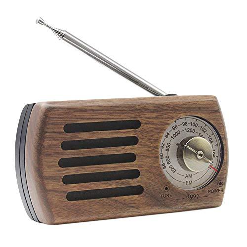 Radio Portatil Pequeña, Radio Portátil de Bolsillo Am FM Radio Personal de Madera de Nogal Retro con Pilas con la Mejor Radio de Transistor de Recepción para Caminar, Correr, Gimnasio, Acampar