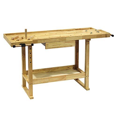 Werkbank 145x49x86cm aus Holz (Rubberwood) mit Schublade, Ablagemulde, Spannzangen und Bankhaken