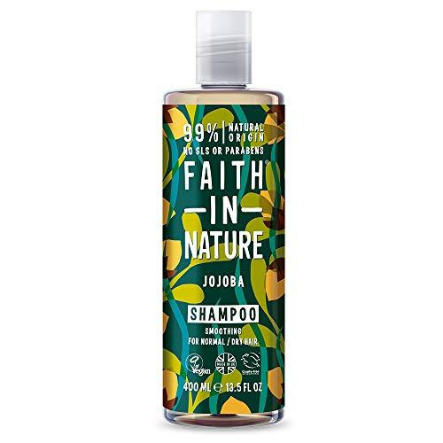 Faith in Nature Natürliches Jojoba Shampoo, Glättend, Vegan & Ohne Tierversuche, Frei von Parabenen und SLS, für Normales bis Trockenes Haar, 400 ml