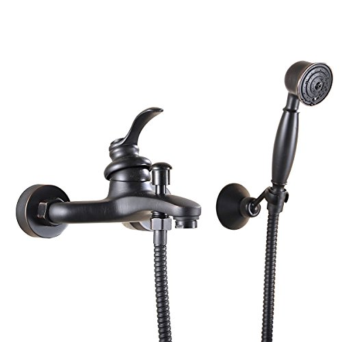 Greenspring Oil Rubbed Bronze Wall Mount Handheld Tub Shower Faucet Commercial Shower Mixer Tap Set Single Handle Wall-Mount