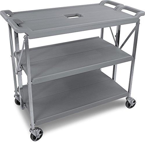 "Carlisle SBC203123 Fold 'N Go Collapsible Utility Cart, 350 Pound Capacity, 31"" Length x 20"" Width Shelf, Gray"