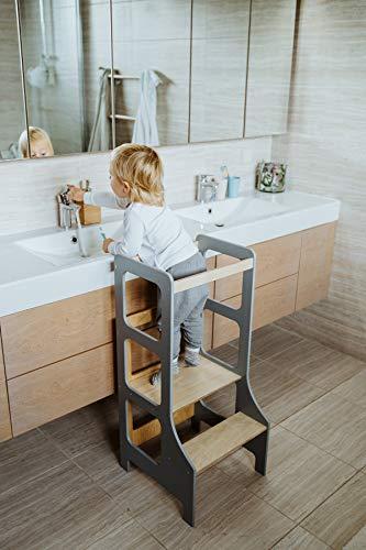 Duck WoodWorks Torre de cocina para niños - Taburete moderno de aprendizaje para niños y niños para uso en cocina y baño - Torre Montessori de madera (gris)