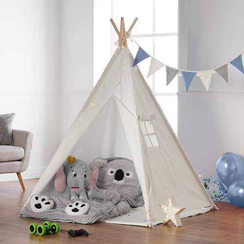 Haus Projekt Tienda Tipi para niños con Luces de Hadas, empavesado y Base Impermeable incluida - Tienda para Jugar e Imaginar, 100% algodón, para Interior / Exterior (Azul/Blanco) Certificado CE