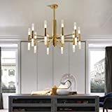 Chandelier-WXP Moderner Industrie-Kronleuchter, energiesparender LED-Deckenleuchter, Villa Loft Stairwell Lighting 628-DD (Color : Gold, Size : Medium)