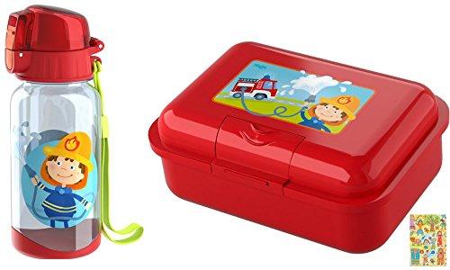 HABA Brotdose und Trinkflasche Feuerwehr Feuerwehrauto Geschenkset KIGA Schule Brotzeitbox
