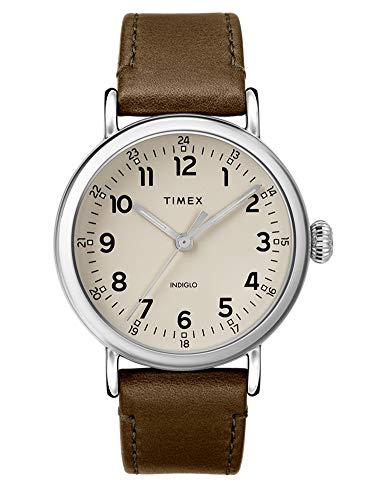 Timex Herren Analoger Quarz Uhr mit Echtes Leder Armband TW2T20100