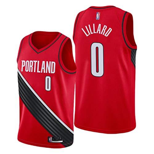 XXJJ Camiseta de baloncesto para hombre Trailblazer Lillard # 0, 2021 Nueva sin mangas de malla (S-XXL) fan de baloncesto para chicos Red-Swingman-S