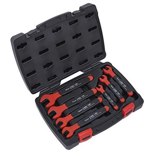 Sealey AK63171 7pc Insulated Open Spanner Set Approved Isolierter Maulschlüsselsatz mit offenem Ende, VDE-genehmigt, 7-teilig, silber