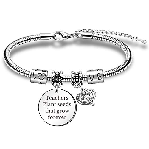HULALA Thank You Teacher Gifts For Women Charm Adjustable Snake Bracelet Appreciation Presents It Takes A Big Heart To Teach Little Minds (Teachers Plant Seeds)