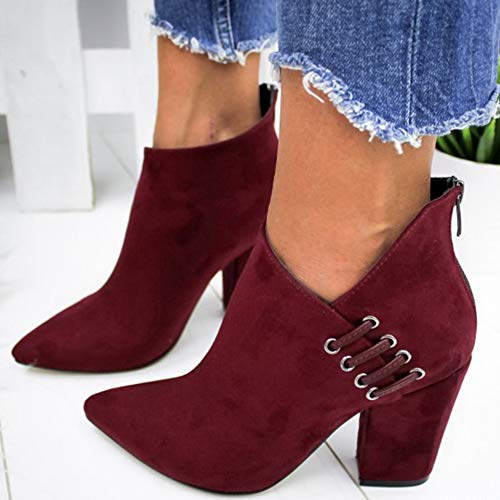 LYYJF Zapatos de mujer de tobillo sexy botas cortas de tacón alto moda puntiagudos zapatos, rojo, 43 EU