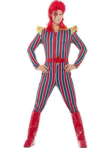 Karnevalsbud - Herren Männer rot blau gestreiftes Space Superstar Kostüm mit Jumpsuit Einteiler Overall, Stiefelüberzieher und Gürtel, perfekt für Karneval, Fasching und Fastnacht, M, Rot