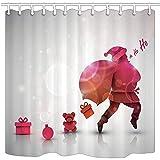 NJMRZX - Cortinas de ducha navideñas de Papá Noel con una bolsa de Gif Traer placer de tela de poliéster cortina de baño con ganchos 71 x 71 in accesorios de baño