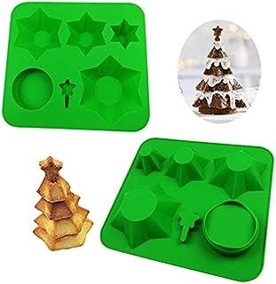 BDDIZL Moule à gâteaux d'arbre de Noël 3D Multicouche, Moule à pâtisserie créatif, Moule à Biscuits en Silicone pour Faire...