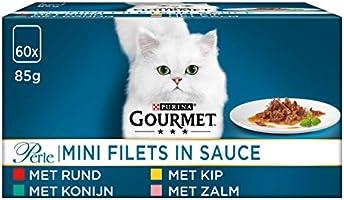 Gourmet Perle Mini Filets in Saus Kattenvoer, Natvoer Maaltijdzakjes met Rund, met Kip, met Konijn, met Zalm, 60 x 85g...