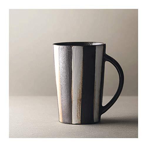 Tazas de Cafe Tazas de café, taza de café de alta capacidad manija grande taza de cerámica for el café, té, cacao, y reflexionado sobre bebidas, blanco retro rayas de Brown Tazas Cafe