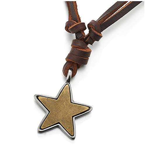 COOLSTEELANDBEYOND Vintage Plata Latón Envejecido Pentagrama Estrella Colgante, Collar con Colgante de Hombre Mujer, Cordón Cuero Ajustable