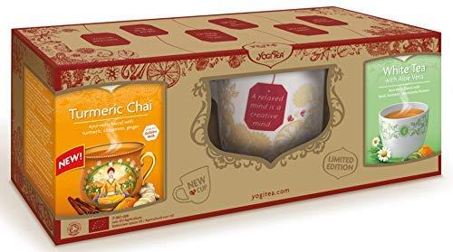 Yogi Tea Herbal Tea Gift Pack, 1 x Large Mug, 1 x Turmeric Chai (17 Bags) & 1 x White Tea with Aloe Vera (17 Bags)