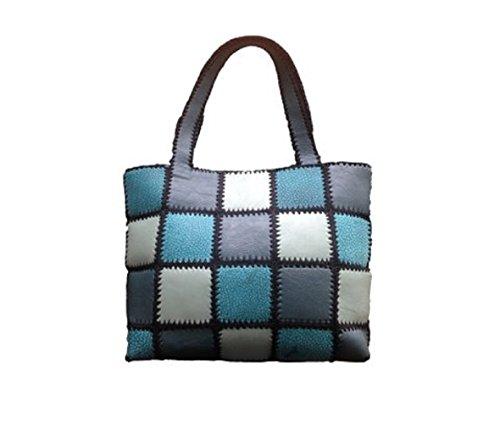 Eballey Multicoloured Women's Top Zipped Handbag (Dark Olive Medium Sea and Light green)