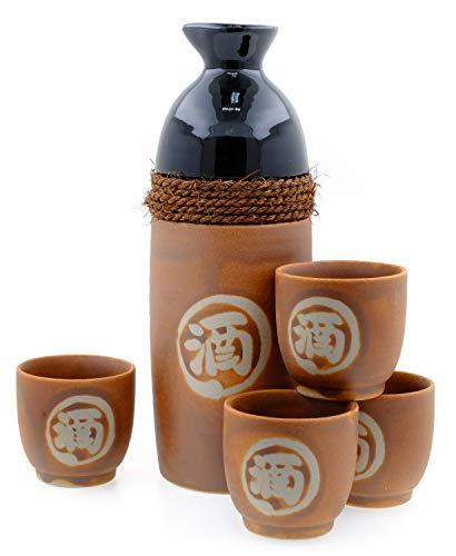 Sake-Set aus Sandstein und Seil, japanisch, 4 Tassen