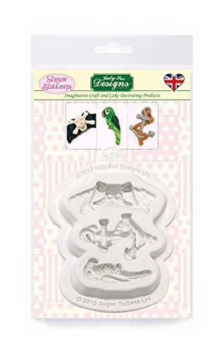 Piraat accessoires siliconen mal voor taartdecoratie, ambachten, cupcakes, suikerwerk, snoepjes, chocolade, kaarten maken en klei, voedselveilig goedgekeurd, gemaakt in het Verenigd Koninkrijk