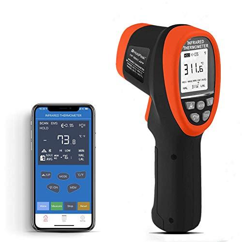 Holdpeak 985C-APP Termómetro Infrarrojo se Conecta Mediante Bluetooth con APP, Pistola de Temperatura IR sin Contacto -58 a 1472℉ (-50 a 800℃), DS 16:1 Emisividad Ajustable para Forja No para Humanos