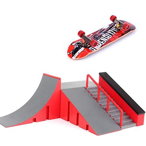 Iwinna 1 Set, Finger Skate Park Kit Ramp Parts with 1 Finger Skateboard Mini Scooter Scene for Finger Skateboard Training Props