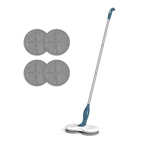 GOBOT Cordless Electric Mop Laminate Floor Scrubber Hardwood Floor&Tile Cleaner Mop for Kitchen with 4 Reusable Microfiber Pads