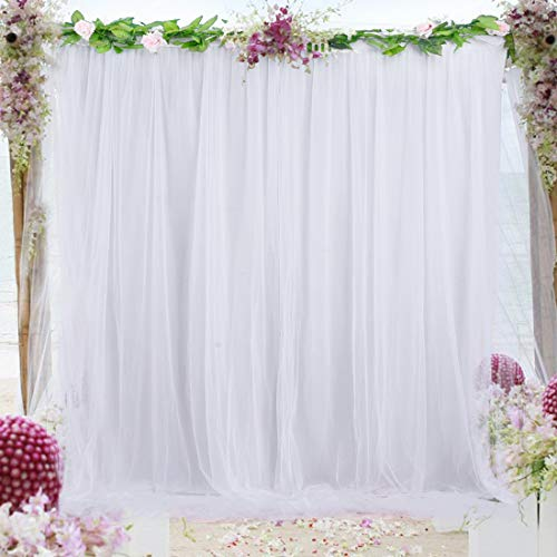 White Tulle Backdrop Curtain for Wedding Party Photography Drape Baby Shower Birthday Anniversary Decoration, 5ft x 7ft