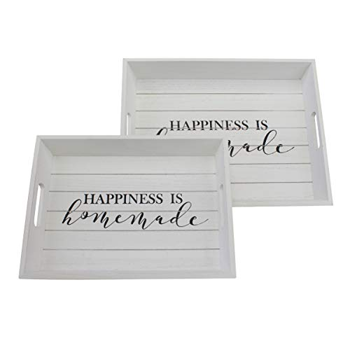 Stonebriar Hello Sunshine Rectangle Worn White Wooden Happiness is Homemade Serving Tray Set with Handles