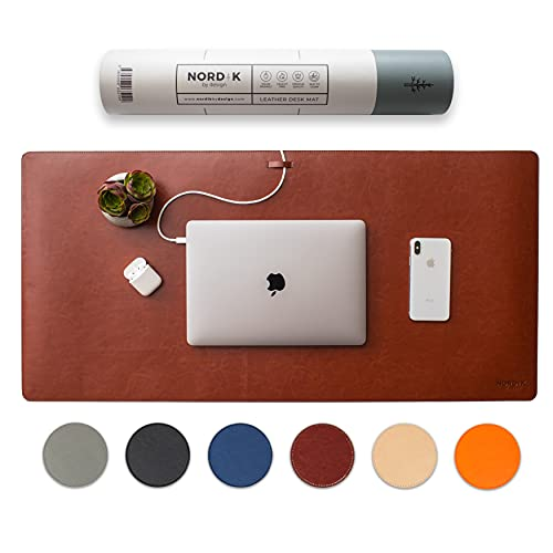 Nordik Leather Desk Mat Cable Organizer (Saddle Brown 35 X 17 inch) Premium Extended Mouse Mat for Home Office Accessories - Felt Vegan Large Leather Desk Pad Protector & Desk Blotter Pads Decor
