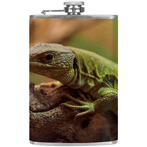 Petaca de cuero con embudo para camping, pesca, barbacoa, fiesta, bar, bebederos, botella de vino Gecko