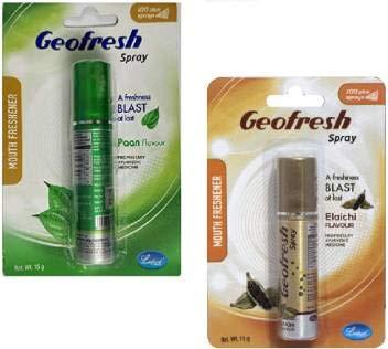 Geofresh Ayurvedic Instant Mouth Freshener Dual COMBO Spray (Paan & Elaichi)15G