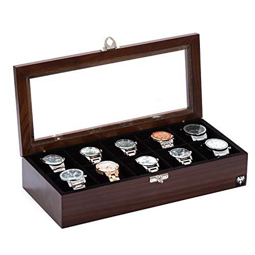 Porta-Relógios Total Luxo Madeira Maciça 10 Divisórias