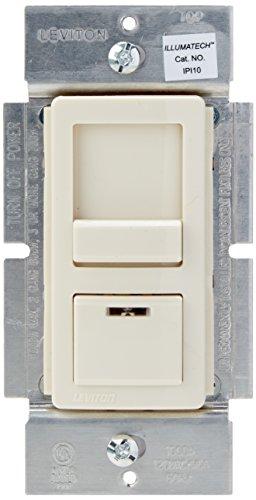 Leviton IPI10-1LZ IllumaTech 1000W Preset Incandescent Dimmer, Single Pole or 3-Way, White/Ivory/Light Almond