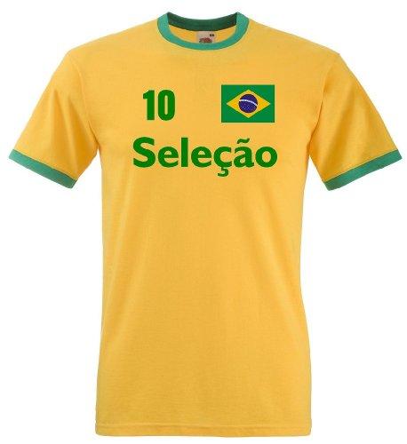 Fruit of the Loom Brasilien Herren T-Shirt Seleçao Retro Trikot|XXL